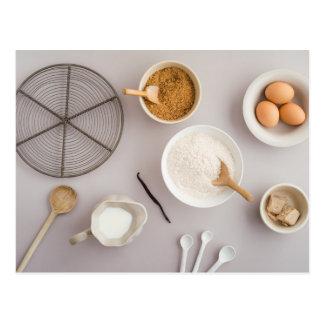 Baking ingredients postcard