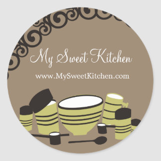 baking mixing bowl cannisters kitchen gift tag ... classic round sticker