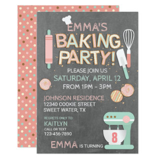 Baking Party Cookie Letters Birthday Card