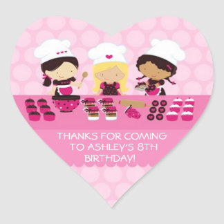 Baking Party Personalized Heart Favor Stickers