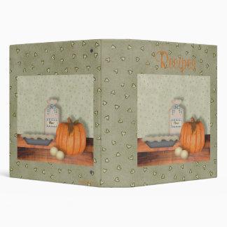 Baking Pumpkin Pie Recipe Album 3 Ring Binder