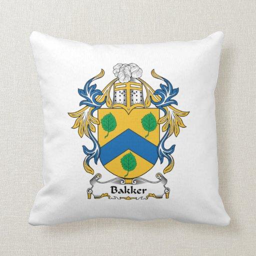 Bakker Family Crest Throw Pillows