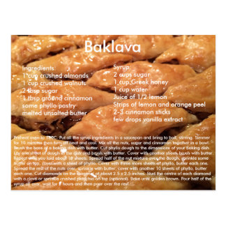Baklava Recipe Postcard