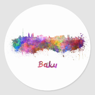 Baku skyline in watercolor classic round sticker