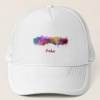 Baku skyline in watercolor trucker hat