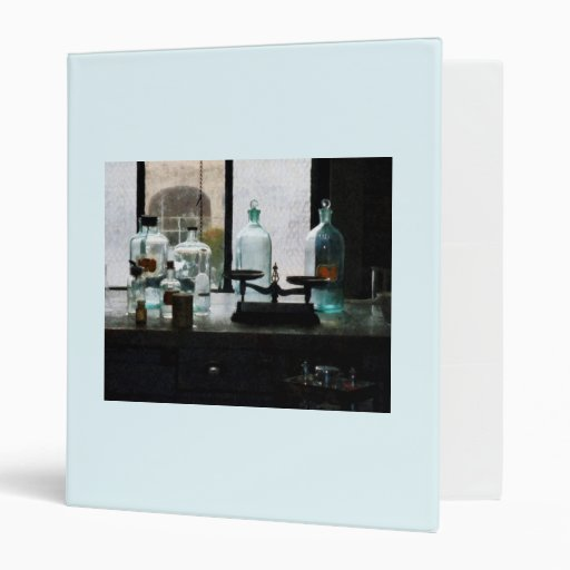 Balance and Bottles in Chem Lab Vinyl Binder