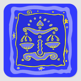 Balance bleue sticker carré