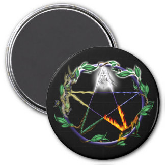 """Balance"" - Elemental Pentacle 3 Inch Round Magnet"