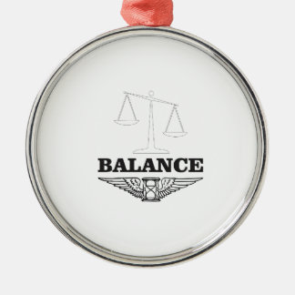 balance scales hard Silver-Colored round ornament