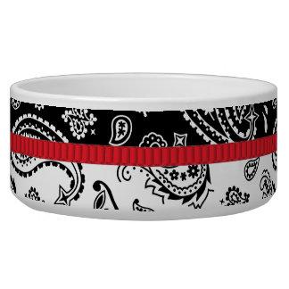 Balanced Paisley with Red Ribbon Pet Food Bowl