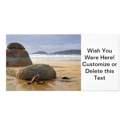 Balanced Rocks and Driftwood on Australian Beach Photo Cards