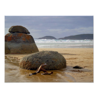 Balanced Rocks and Driftwood on Australian Beach Poster