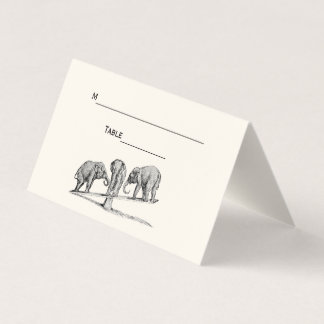 Balancing Elephants Seesaw Place Escort Card Ivory