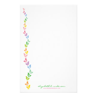 Balancing Retro Rainbow Chick Note Card Stationery