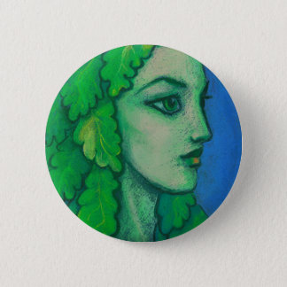 Balanis, dryad, green leaves, forest goddess, art 2 inch round button