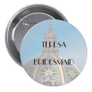 Balboa Park Mosaic Dome Bridesmaid 3 Inch Round Button