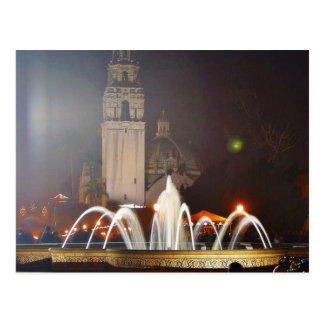 Balboa Parks Towers Fountains Night Postcard
