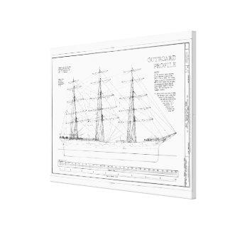Balclutha Ship Outboard Profile Diagram Canvas Print