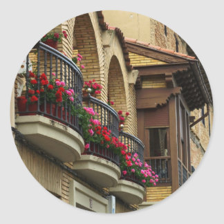 Balconies in Olite Round Sticker