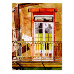 Balcony with laundry - watercolor drawing postcards