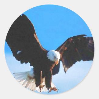 Bald American Eagle Round Sticker