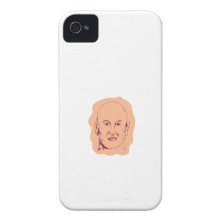 Bald Caucasian Male Head Drawing Case-Mate iPhone 4 Cases