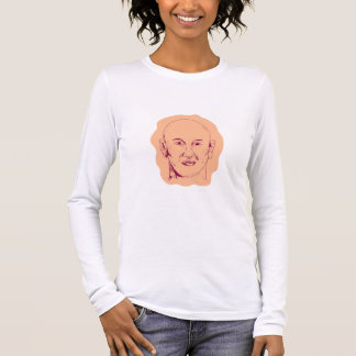 Bald Caucasian Male Head Drawing Long Sleeve T-Shirt