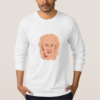 Bald Caucasian Male Head Drawing T-Shirt