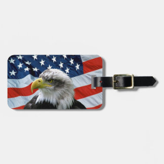 Bald Eagle American Flag Luggage Tag