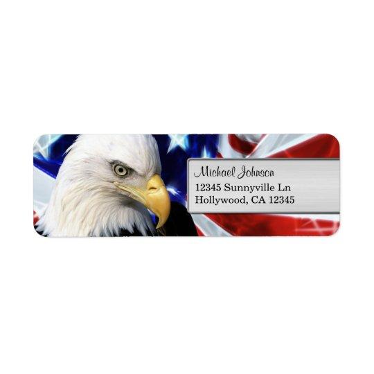 Bald Eagle American Flag Return Address Label