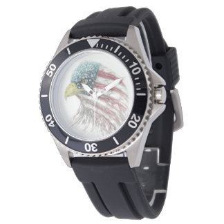 Bald Eagle American Flag Watch