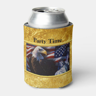 Bald Eagle an Statue of Liberty an American flag Can Cooler