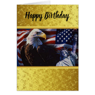 Bald Eagle an Statue of Liberty an American flag Card