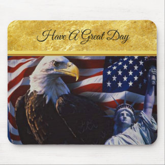 Bald Eagle an Statue of Liberty an American flag Mouse Pad