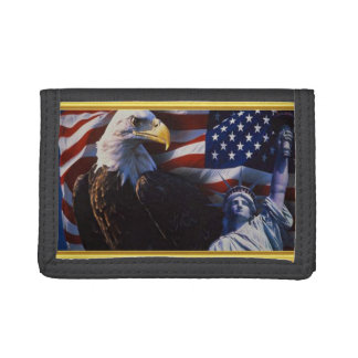 Bald Eagle an Statue of Liberty an American flag Tri-fold Wallets