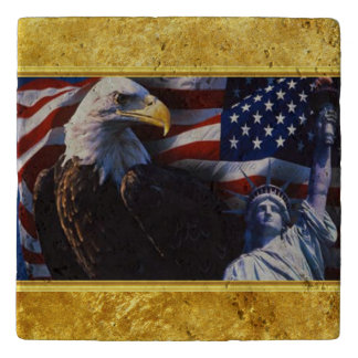 Bald Eagle an Statue of Liberty an American flag Trivet