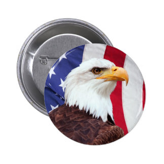 Bald Eagle and American Flag 2 Inch Round Button