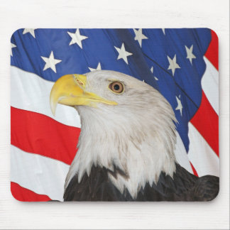 BALD EAGLE AND AMERICAN FLAG MOUSEPAD