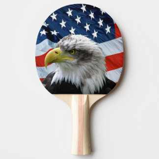 Bald Eagle and American Flag Ping Pong Paddle