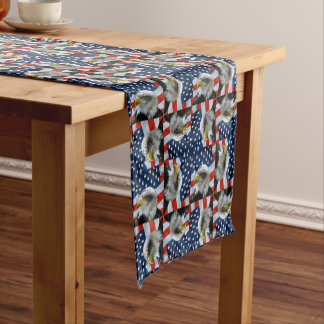 Bald Eagle and American Flag Short Table Runner
