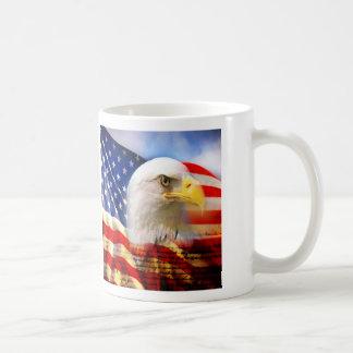 Bald Eagle and The American Flag Classic White Mug