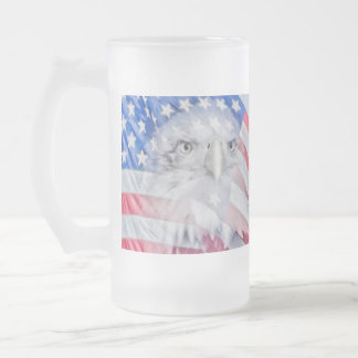 Bald Eagle and the American Flag Frosted Glass Mug