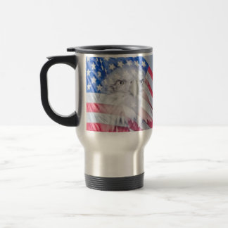 Bald Eagle and the American Flag Stainless Steel Travel Mug