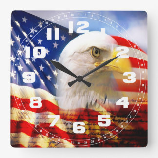 Bald Eagle and The American Flag Wall Clock