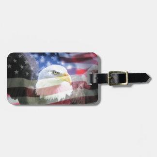 bald eagle and U.S.A. flag Luggage Tag