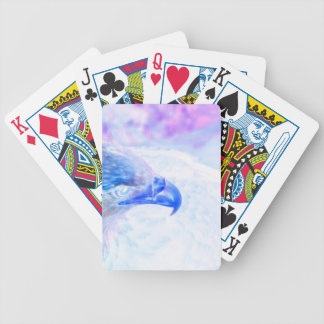 bald eagle blue purple facing right bicycle playing cards