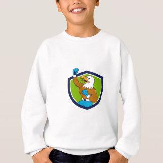 Bald Eagle Boxer Pumping Fist Crest Cartoon Sweatshirt