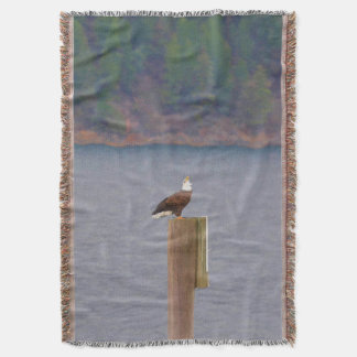 Bald Eagle Calling from a Post by Lake Throw Blanket