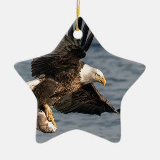 Bald Eagle Catching Food Ceramic Ornament