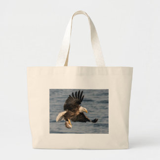 Bald Eagle Catching Food Large Tote Bag
